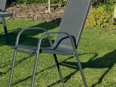 Grey Stacking Garden Chair (Steel and Texteline) – Dominica