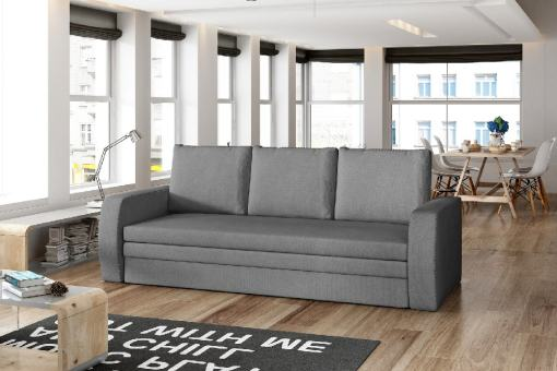 3 Seater Sofa Bed for Small Rooms - Liverpool. Light grey fabric Soro 93