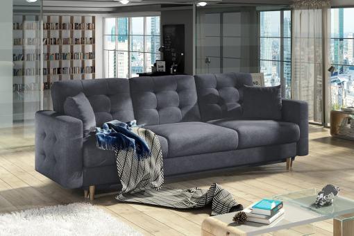 Sofá cama de 3 plazas tapizado capitoné - Copenhagen. Tela gris oscuro Soro 95
