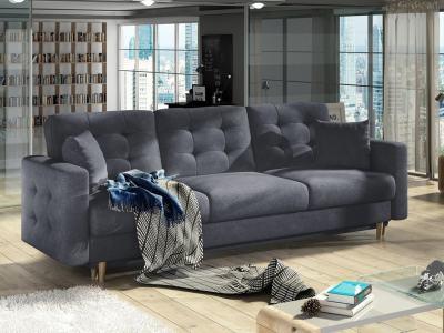 3 Seater Sofa Bed in Padded Dark Grey Fabric Soro 95 - Copenhagen