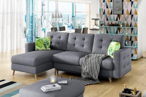 L-shaped Sofa Bed with Padded Upholstery - Copenhagen. Light grey fabric Soro 93