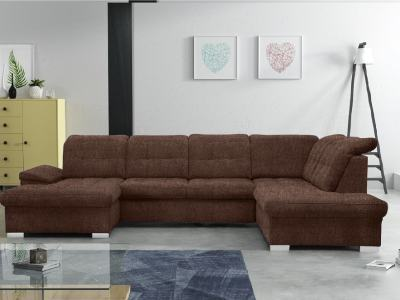 U-shaped Sofa with Pull-out Bed and Reclining Headrests - Toronto. Right corner, brown fabric (Inari 28)