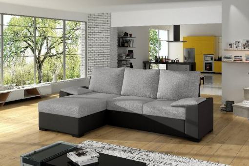 Chaise Longue Sofa with Large Pull-out Bed and Storage - Glasgow. Grey fabric / black faux leather