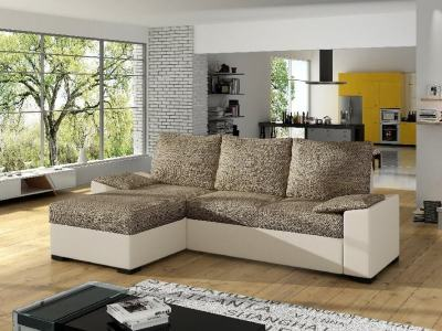 Chaise Longue Sofa with Large Pull-out Bed and Storage - Glasgow. Brown fabric / beige faux leather