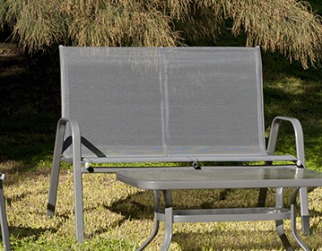 Two Seater Patio Sofa in Grey, Steel - Dominica