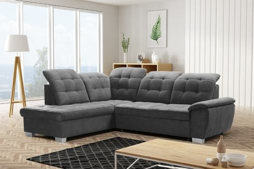 Corner Sofa with High Backrest, Reclining Headrests, Bed and Storage - Hamilton. Left Corner. Grey soft to touch fabric - Alfa 19