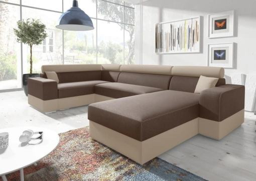 U-shaped sofa with pull-out bed - Milan. Left corner. Brown/beige fabrics