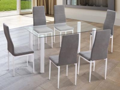 Comedor con mesa rectangular con tapa de cristal y 6 sillas. Patas blancas - Novelda