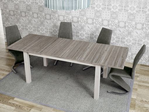 Dining Room Set with Large Extendable Table and 4 Upholstered Chairs - Vic / Sallent