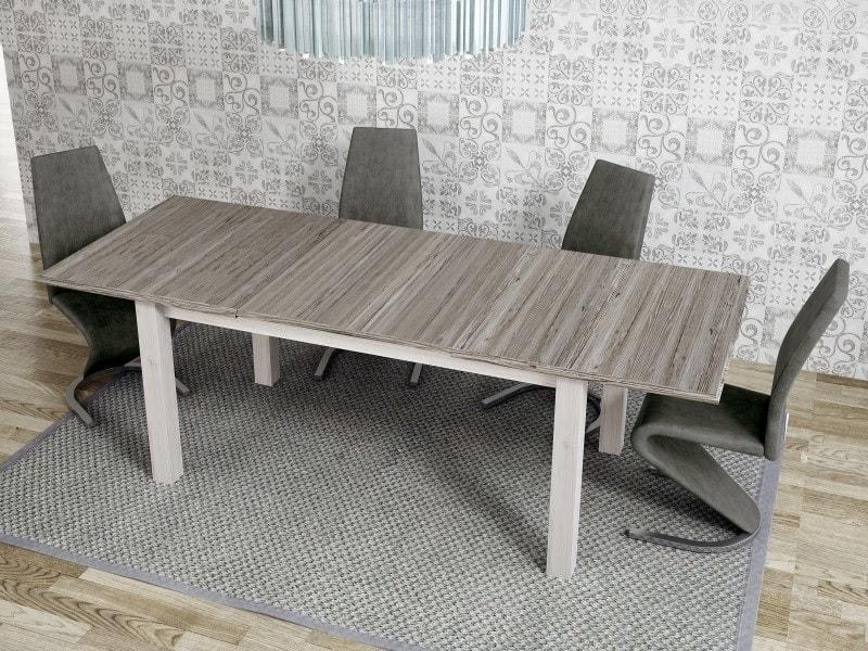 Conjunto de comedor con mesa extensible grande y 4 sillas tapizadas - Vic /  Sallent - Don Baraton: tienda de sofás, colchones y muebles