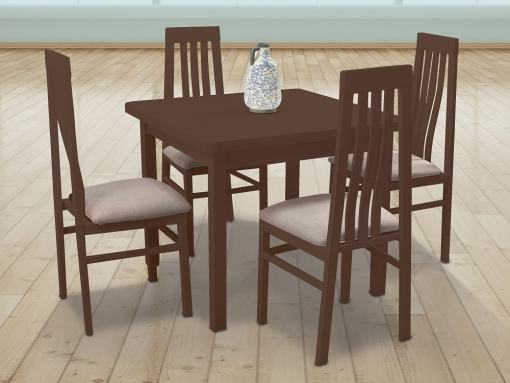 Cherry Colour Dining Set with Extending Table and 4 chairs – Vejle / Utiel