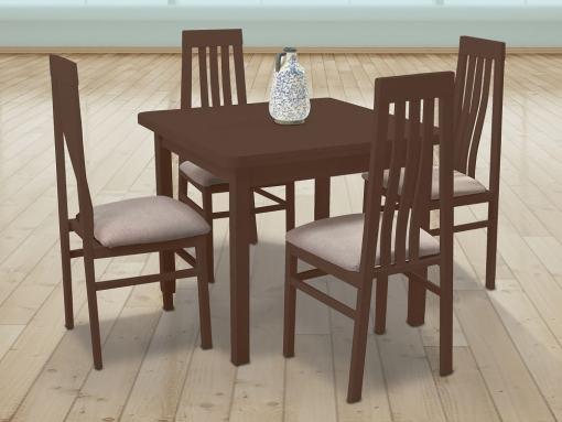 """Обеденная группа с раздвижным столом и 4 стульями - Vejle / Utiel. Цвет """"вишневое дерево"""""""