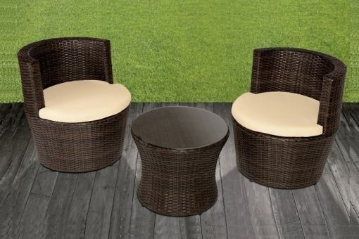 Conjunto de jardín mesa redonda + 2 sillones redondos en ratán sintético - Marzo