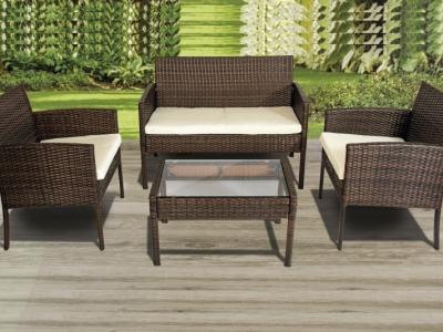 Conjunto de jardín sofá 2 plazas, 2 sillones, mesa baja, ratán sintético marrón - Septiembre