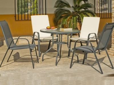 Outdoor Set with Round Table 90 cm and 4 Chairs in Grey Steel - Dominica