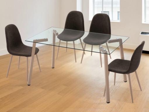 Juego de comedor moderno - mesa con cristal + 4 sillas tapizadas - Herring-Randers