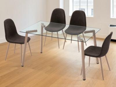 Обеденная группа в скандинавском стиле - стол со стеклом + 4 стула - Herring/Randers
