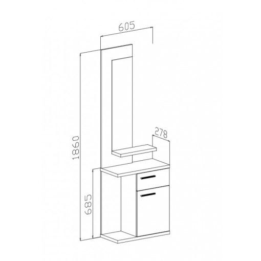 Medidas de recibidor con espejo y 2 cajones en blanco y roble - Rovigo