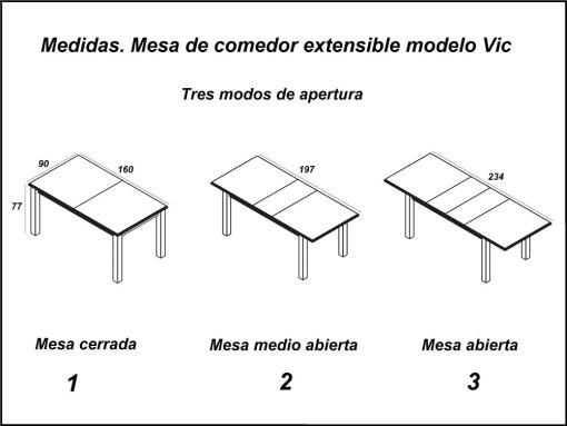 Dimensions and 3 Opening Modes of the Large Extendable Table - Vic