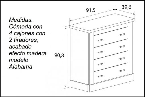 Dimensions of the Alabama 4 Drawer Low Chest of Drawers - Alabama