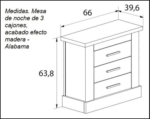 Dimensions of the Three Drawer Bedside Table - Alabama