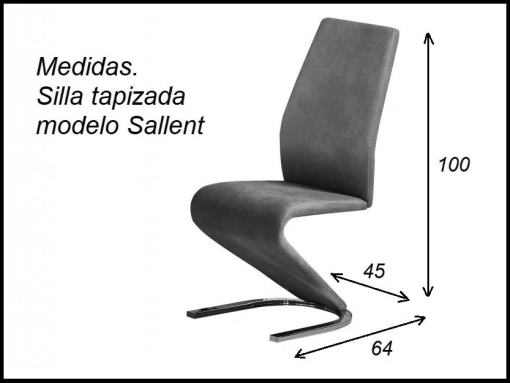 Dimensions of the Designer Chair Upholstered in Grey Fabric - Sallent