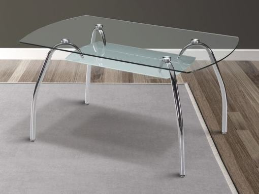 Mesa comedor con tapa de cristal, patas metálicas curvas - Aspe
