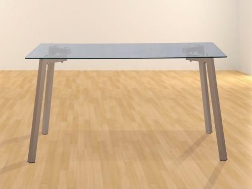 Mesa comedor moderno con tapa de cristal transparente 140 x 80 cm - Herning
