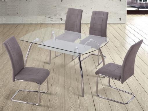 Set comedor moderno mesa de cristal + 4 sillas tapizadas. Color gris. Aspe