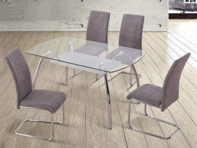 Modern 4 Seater Dining Set with Glass Top Table and 4 Upholstered Chairs - Aspe. Grey Fabric