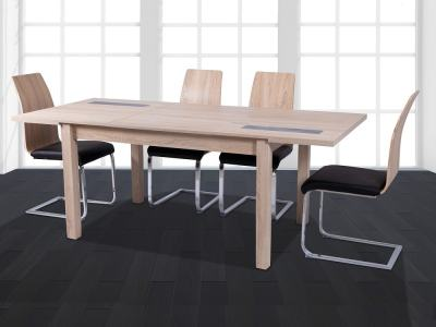 Set de comedor moderno con mesa extensible y 4 sillas, roble y negro - Catania - Reus