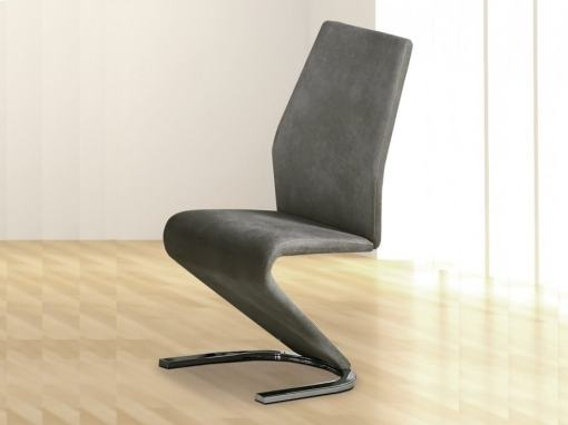 Designer Dining Chair Upholstered in Grey Fabric - Sallent
