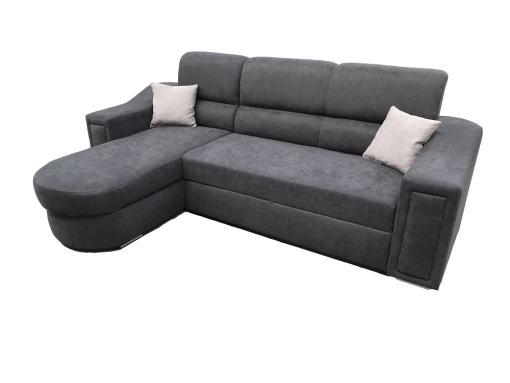 Sofá chaise longue con cama y arcón - Venecia. Tela gris oscuro, chaise longue lado izquierdo