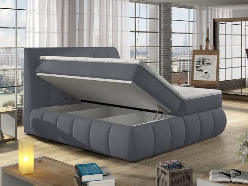 Almacenamiento de la cama matrimonial con cabecero y base acolchados, 180 x 200 cm - modelo Ana