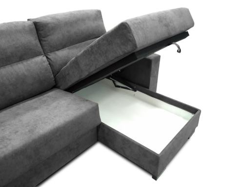 Storage of the Madrid Sofa Bed with Full Mattress - Madrid. Dark Grey Fabric