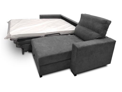 Armrest, Chaise Longue and Bed of the Madrid Sofa Bed with Full Mattress - Madrid. Dark Grey Fabric