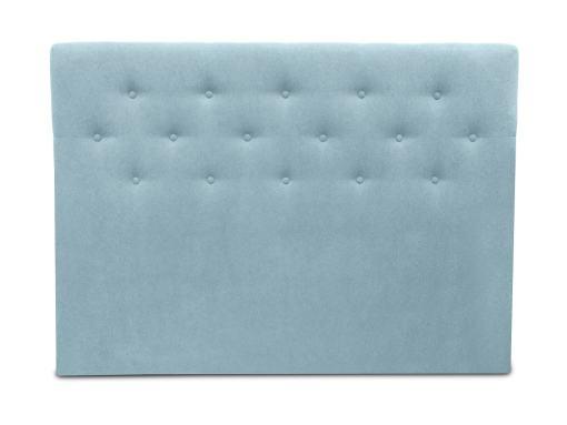 Cabecero cama doble, 160 x 120, tapizado en tela, con botones - Dream. Color azul claro