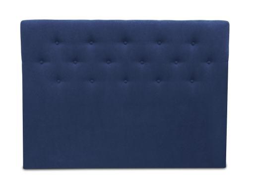 Cabecero cama doble, 160 x 120, tapizado en tela, con botones - Dream. Color azul oscuro