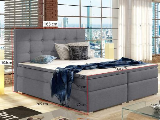 Medidas de la cama doble tapizada 160 x 200 cm con colchón, cabecero y topper - Luisa