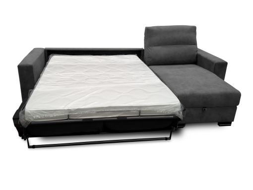 Unfolded Bed of the Madrid Sofa Bed with Full Mattress. Dark Grey Fabric
