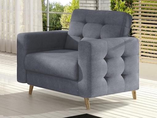 Armchair with Wooden Legs, Upholstered in Light Grey Fabric (Soro 93) - Copenhagen