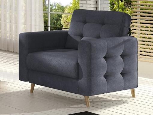 Armchair with Wooden Legs, Upholstered in Dark Grey Fabric (Soro 95) - Copenhagen