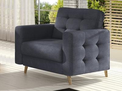 Armchair with Wooden Legs, Upholstered in Dark Grey Fabric (Soro 95) - Copenhagen