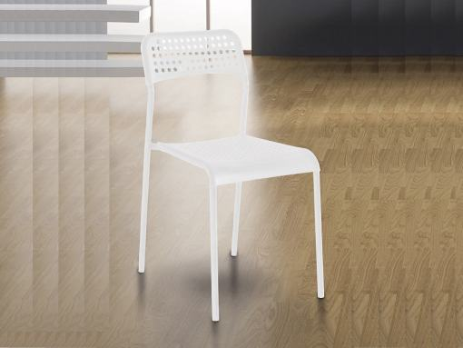 White Inexpensive Kitchen Chair in Steel and Plastic - Parla