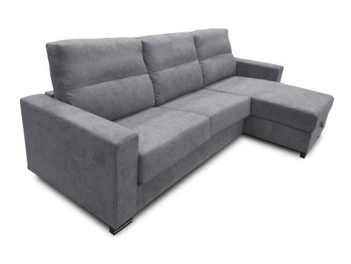 Sofá chaise longue cama apertura italiana color gris claro - modelo Madrid
