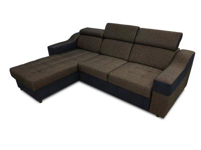 Dark brown and black fabrics. Chaise longue sofa bed with high headrests - Albi. Chaise longue on the left side