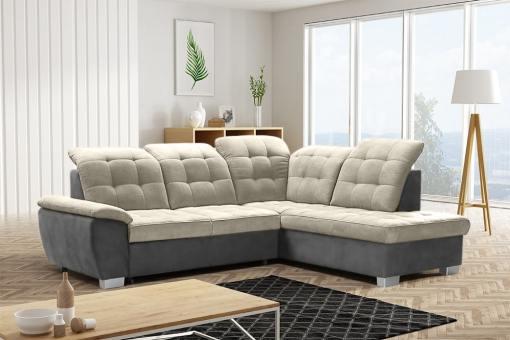 Sofá rinconera alto respaldo, con cama, arcón, reposacabezas reclinables - Hamilton. Tela 'arena', polipiel gris. Esquina lado derecho