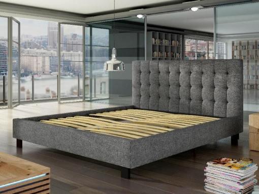 Somier de láminas. Cama doble tapizada 160 x 200 cm con cabecero - Margarita