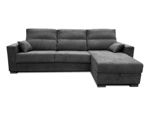 Vista frontal. Sofá chaise longue cama apertura italiana color gris oscuro (marengo) - modelo Madrid