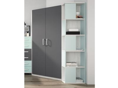 Children's Corner Wardrobe with Side Shelves - Luddo. Grey Doors, Blue Shelves